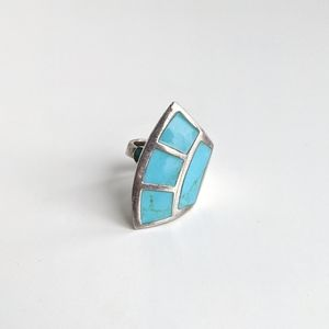 Sterling and Turquoise inlay Bypass Ring